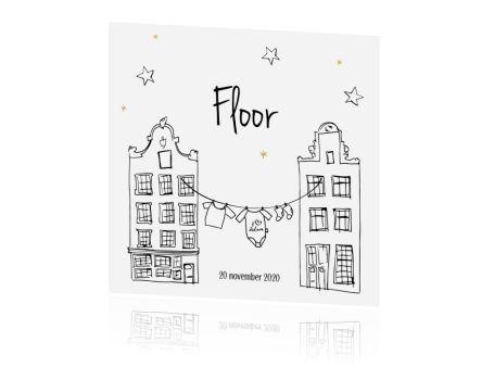 Een hip en trendy geboortekaartje meisje met Hollandse huisjes en een waslijntje. I love Amsterdam! Mooi op natuurkarton.