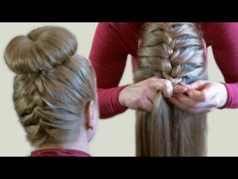 Объемный Пучок из Волос с Помощью Бублика или Носка Видео Upside Down French Braid Bun Style - YouTube