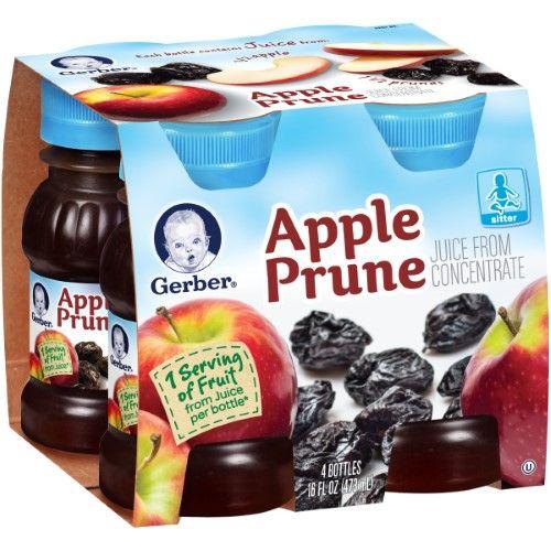 Gerber Juice Apple Prune, 4 Ounce Each, 4 Count (Pack of 6