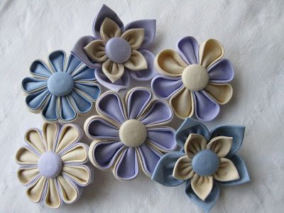 Beautiful variations on my folded petal fabric flower from Jenny at Living, Crafting and Quilting