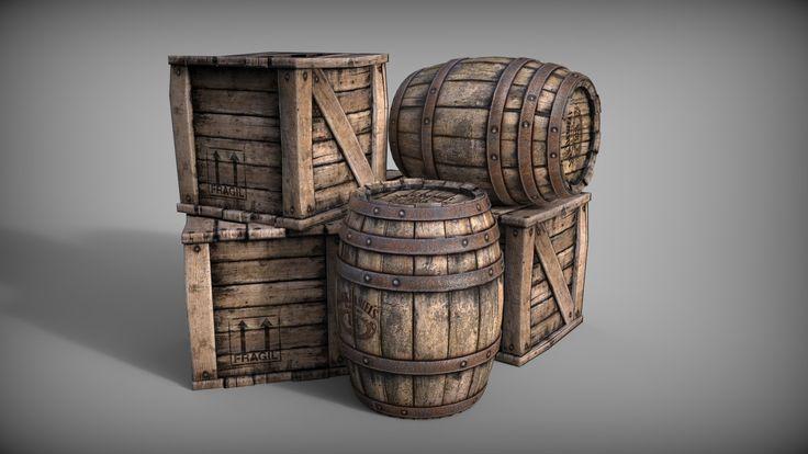 ArtStation - Barrels and boxes, Michal Bystrek