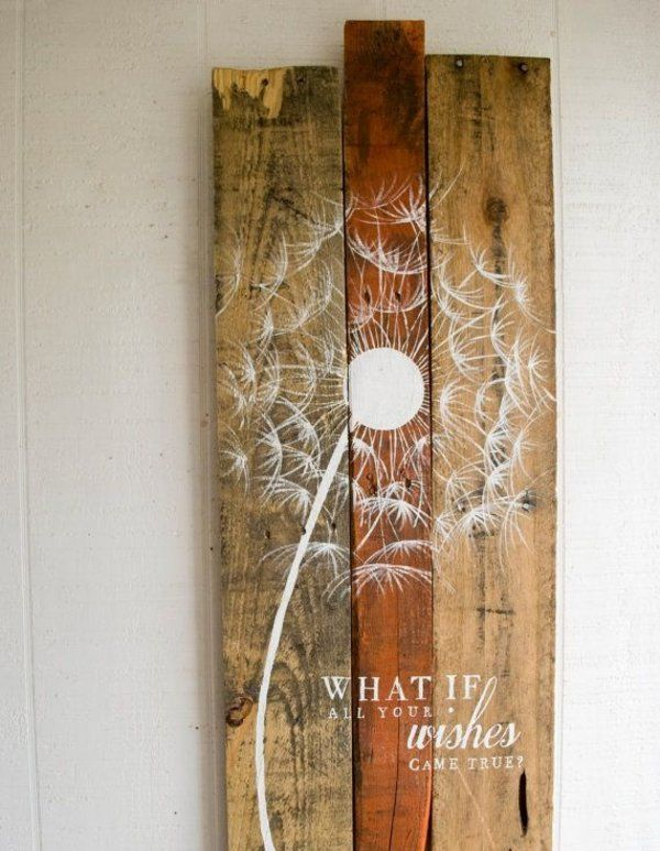 Superb Wanddeko aus Holz diy wanddeko holzpaletten streichen kunstvolle l sung