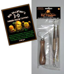 Ray Villafane Pumkin Carving Tool Kit with the 5 essential tools needed for extreme 3-D pumpkin carving. To read more: http://www.vegetablefruitcarving.com/ray-villifane-pumpkin-carving-dvd/#