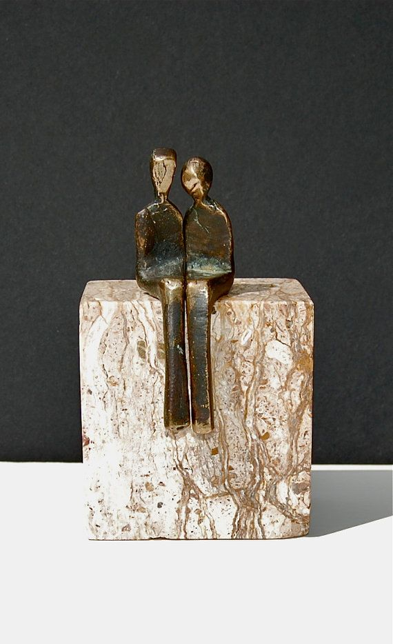 M I N I .... BY YOUR SIDE - romantic miniature bronze sculpture, contemporary design by Yenny Cocq