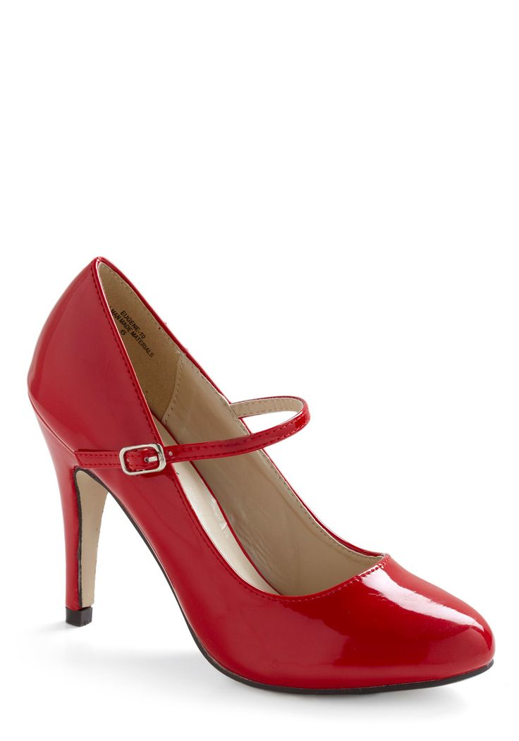 Patent Office Heel in Ruby. Dress for the job of your dreams with this ruby red heel in your file of promotion-worthy pumps! #red #modcloth
