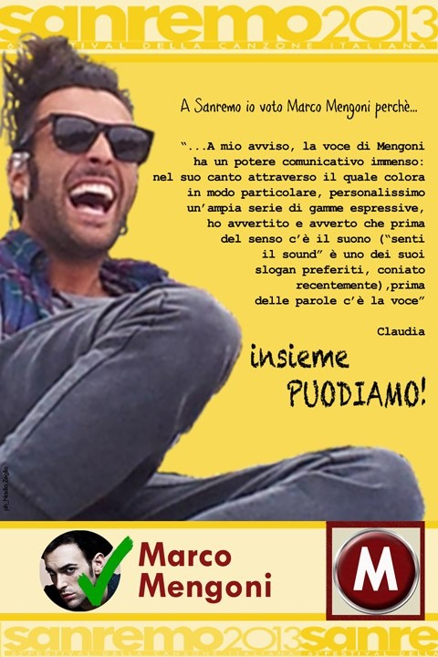 A Sanremo voterò Marco Mengoni perchè   http://www.youtube.com/watch?v=wq-QMgRq2MI