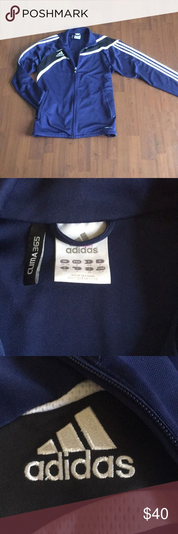 NWOT adidas Jacket Brand new, without tags royal blue jacket by adidas. It has a cool black stripe that goes from the back, across the front, and then all the way down the left sleeve. Men's size S adidas Jackets & Coats Performance Jackets