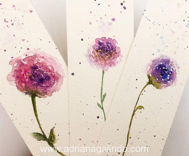 Copyright by Adriana Galindo - Bookmark / marcador de página em aquarela / marcador de livro, floral, flores flower, aquarela, watercolor, namaste, brindes, gift, adrianagalindo Shop: drigalindo1@gmail.com  Adriana Galindo
