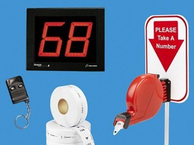 """2-Digit Take-A-Number System - Wireless. Reduce waiting time and improve customer service. Electronic system includes large 5"""" numeric LED display. Countertop stand, ticket dispenser and three push buttons. Ticket rolls sold separately."""