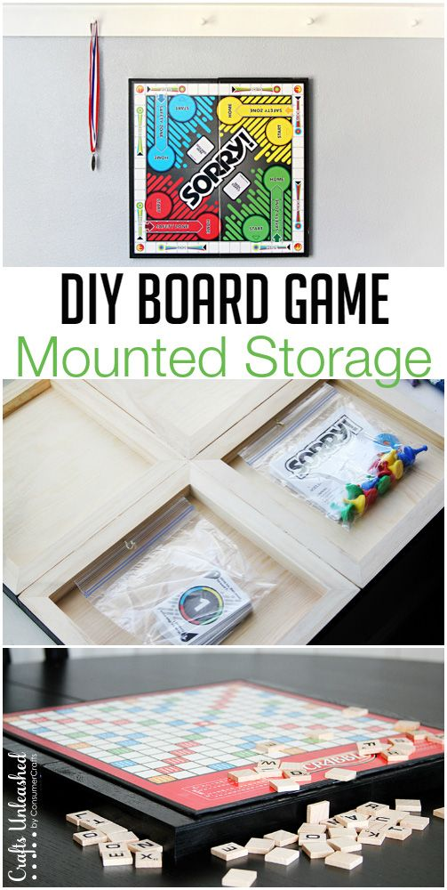 Mounted DIY Board Game Storage Organizer- all you need is glue to mount your own game boards with built in storage! Full tutorial.