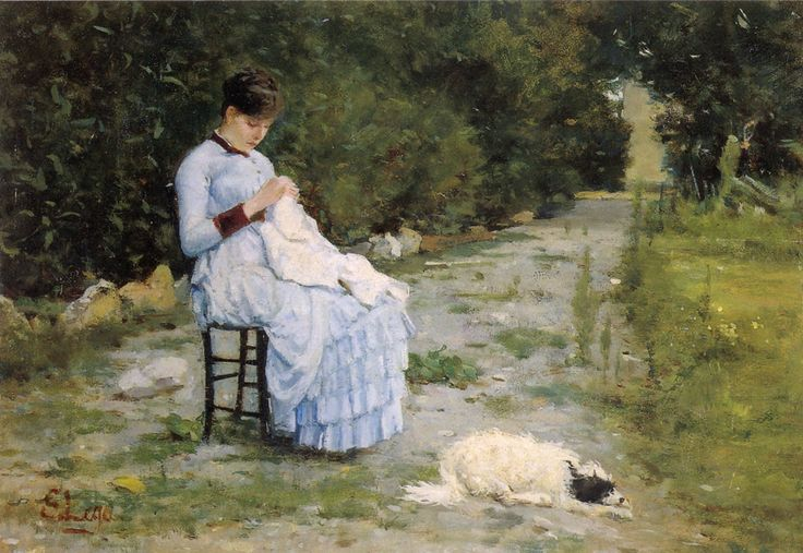 Silvestro Lega, In giardino, 29,2 x 37,8, 1882