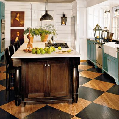 wow...painted floorDecor, Cottages Kitchens, Ideas, Cabinets Colors, Painting Wood Floors, Painting Floors, Islands, House, Painted Floors