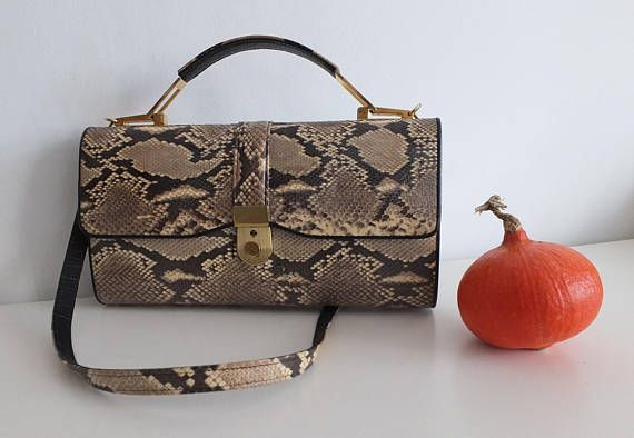 Véritable python sac / pochette en python vintage bag 1970s