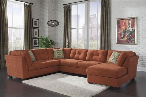Delta City Steel Contemporary Rust Wood Fabric Sectional