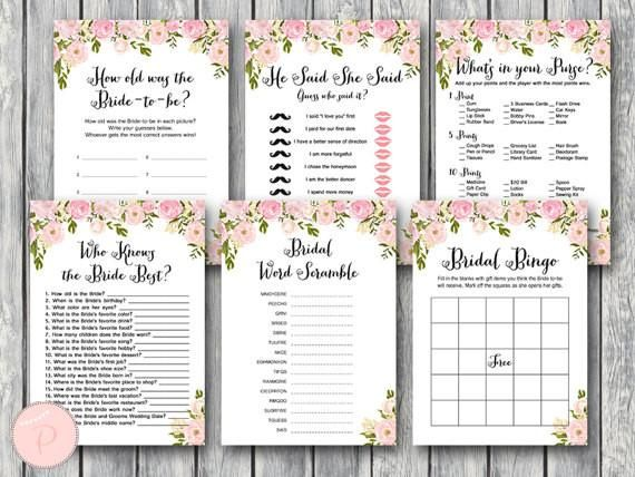 These bridal shower game print outs are such a fun idea! | 52 Awesome Bridal Shower Ideas | Kennedy Blue | BrideAndBows