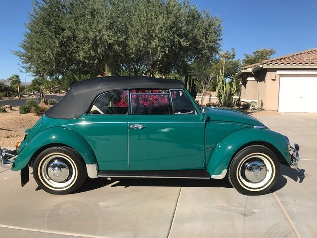 1967 VW Beetle Convertible For Sale in Java Green @ Oldbug.com