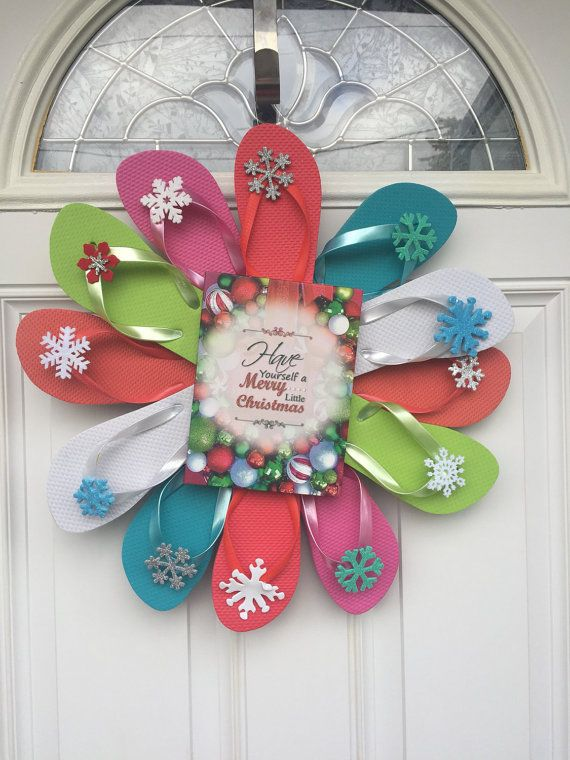Christmas Flip Flop Christmas Wreath/Winter by PoppiesBlossom