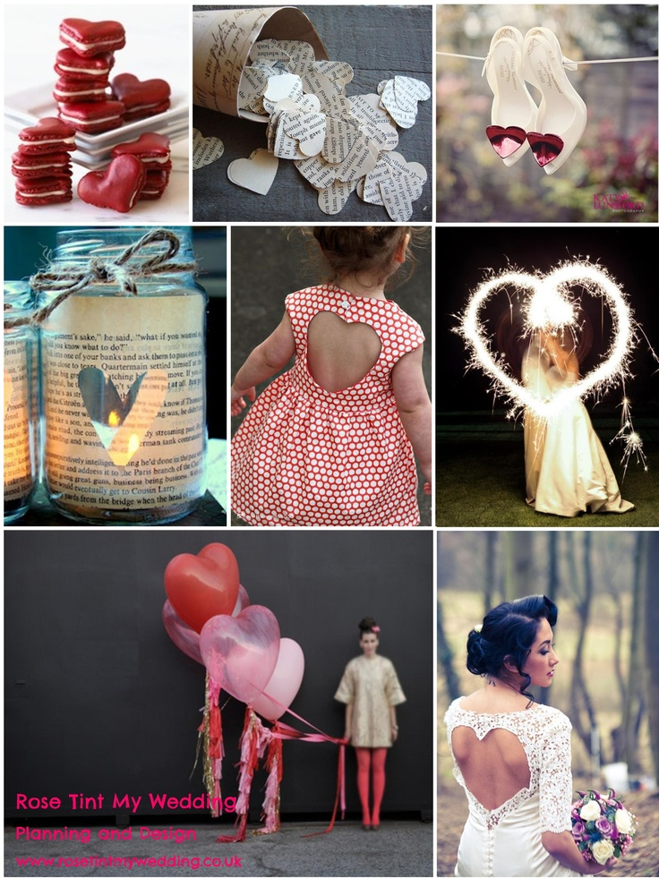 Love Heart wedding inspiration. Nothing says 'love is in the air' like heart-shaped detailing. Cute confetti, quirky shoes, or eye-catching balloons, the sky is the limit. www.rosetintmywedding.co.uk #heartwedding #romanticwedding