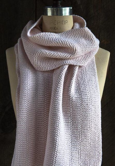 Free Knitting Pattern for 2 Row Repeat Scarf - An easy two row repeat elevates garter stitch to a new level of style in this Broken Garter scarf by Purl Soho.