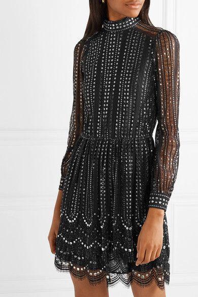 e14944ef43cd MICHAEL Michael Kors | Crystal-embellished metallic lace mini dress | NET -A-PORTER.COM