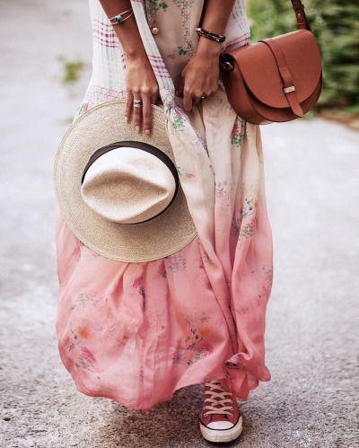 robe longue été avec dégradé de rose sur le bas