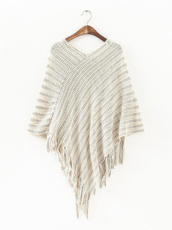 Pullover Half Sleeve V Neck Beige Sweater : KissChic.com