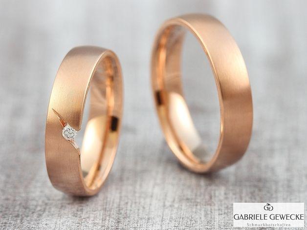 Eheringe - Eheringe mit Diamant, 585 Rotgold, 3302 - ein Designerstück von Schmuckbotschaften bei DaWanda
