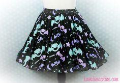 Graveyard Shift Printed Skater Skirt (Bats, Moons, Stars)  Fairy Kei Pastel Goth Kawaii Plus Size