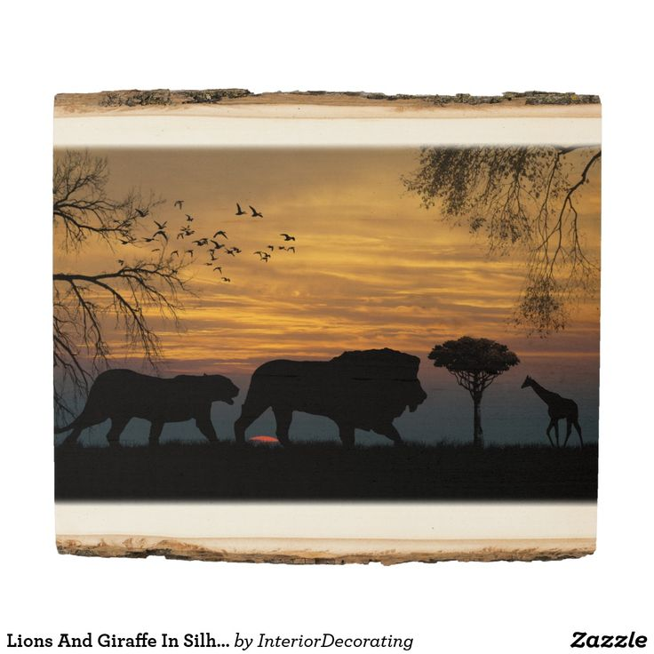 Lions And Giraffe In Silhouette Wood Panel