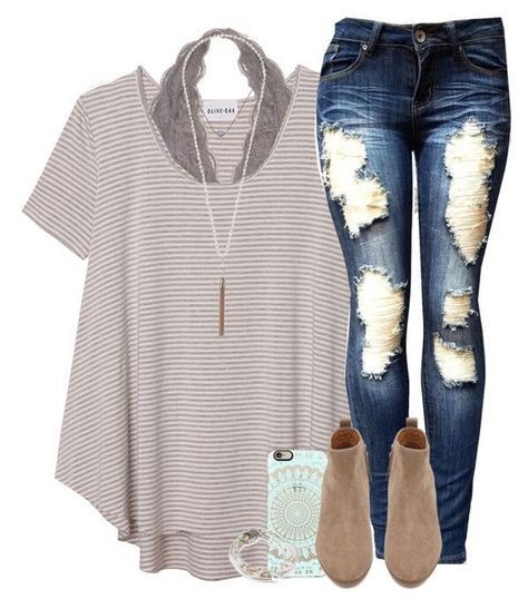 Outfit for School // A striped t-shirt, cute lace bralette, and a pair of booties.