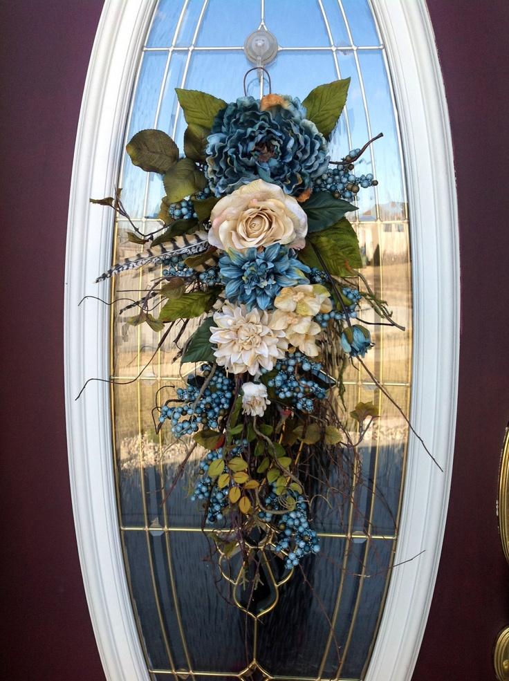 Spring Wreath Summer Wreath Mothers Day Teardrop Door Twig Swag Vertical Decor. $75.00, via Etsy.