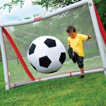 Ready, shoot, score! Quick, inflatable soccer goals are perfect for outdoor fun - anytime, anywhere. The 6' L. x 4' H. x 3' D. goal with netting comes with a pump that quickly inflates and deflates the goal. Carrying bag makes it easy to transport for picnics, parties or soccer games in the park. Perfect for soccer target practice, too! Ages 3 yrs. +. www.CPToys.com #toys