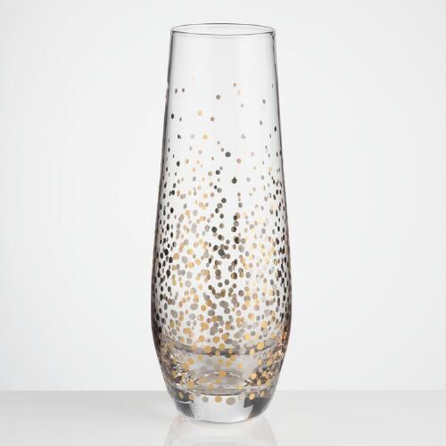 One of my favorite discoveries at WorldMarket.com: Metallic Confetti Stemless Champagne Flutes Set of 4
