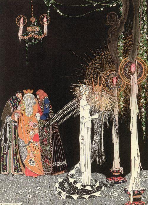"""zombienormal: """""""" """"Она увидела линдворм впервые, как он вошел и встал рядом с ней."""" """"Иллюстрированный Кей Нильсен (1886-1957) для"""" Принца линдворм """"с востока Солнца и Запада Луны Старые сказки Севера, 1914. """""""