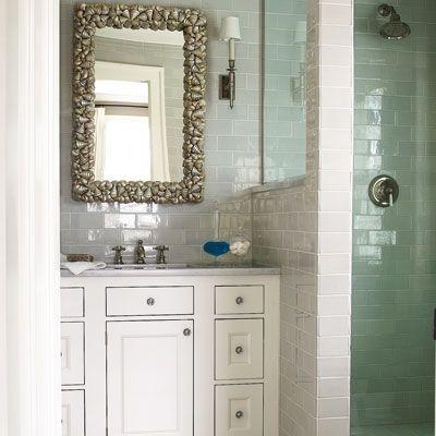 Bringing Serenity And Flow To A Small Home Faucet Handlesgreen Tilesbathroom Stuffbathroom Ideaswhite Vanitywhite Subway