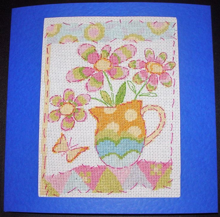 Completed Cross Stitch Extra Large Card - Jug Of Flowers | eBay