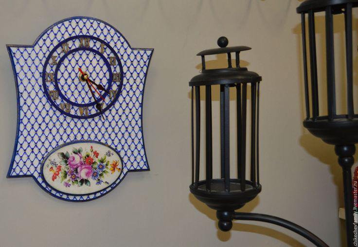 """Купить Часы """"Фарфоровые"""" - синий, часы настенные, часы интерьерные, часы ручной работы, сетка"""