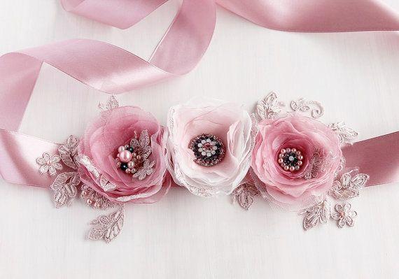 Polvo rosa nupcial: marco, flores marco, Sash Vestido de novia, correa del marco Floral, marco novia cintura, flor rosa, Prom faja, correa del marco rosa caliente