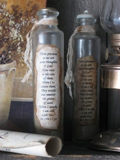 Psalm 139 Bottle Tutorial - love this idea!   *********************************************  Treasures from the Heart - #upcycle #bottle #crafts #paper #psalms #Scripture #message #vintage - tå√