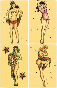 4 Sexy Pin Up Girls Nude Vintage Sailor Jerry Traditional Tattoo ...