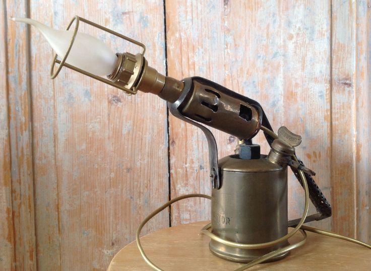 Zweedse vintage gasbrander ( Sievert ) Lamp - 95,-