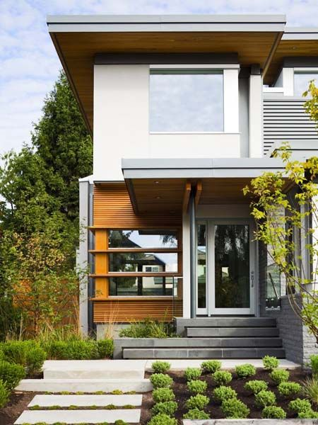 modern side front entry design Ideas | Modern house exterior and entryway design with concrete slabs and ...
