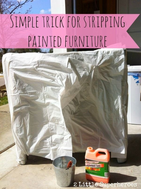 To strip furniture indoors, remove paint with Citrustrip and cover with a garbage bag.