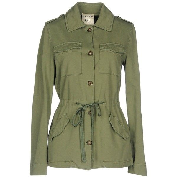 Semicouture Jacket (€160) ❤ liked on Polyvore featuring outerwear, jackets, military green, olive green jackets, army green jackets, multi pocket jacket, single breasted jacket and green jacket