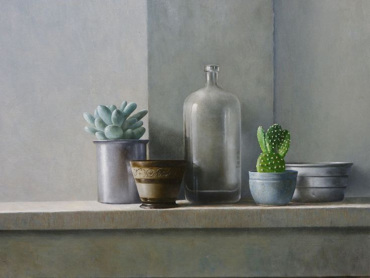 Stilleven met cactus en vetplant Door Erik Zwaga