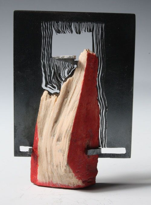 Teresa F. Faris, Brooch, 2011 Collaboration with a Bird 2011  Sterling silver, wood altered by a bird: