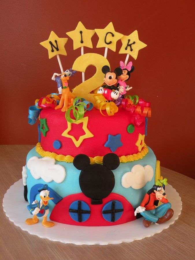 This is a Mickey Mouse Clubhouse cake for a 2-year-olds birthday party. Found lots of great ideas on here for this one! Thank you all for being so creative!!! :)