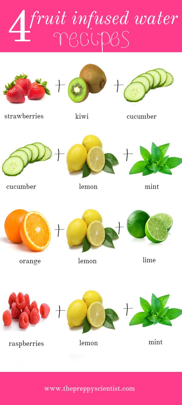 Strawberries + kiwi + cucumber = digestion Cucumber + lemon + mint = refresher Orange + lemon + lime = immune boost Raspberries + lemon + mint = refresher