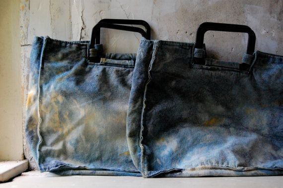 natural dye tote with plastic handles by enhabiten on Etsy, $38.00