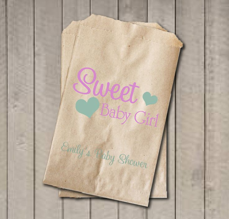 Girl Baby Shower Favor Bags, Sweet Baby Girl Bags, Custom Baby Shower Bags, Baby Shower Candy Buffet - Light Pink & Mint Green